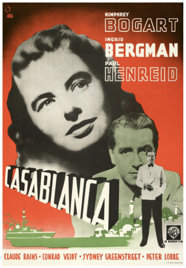 This Swedish one-sheet for Casablanca nearly tripled its estimate when it sold for $55,000 at Heritage. Image courtesy of Heritage Auctions.