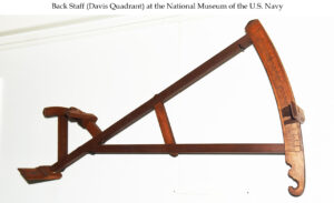The backstaff predated the sextant and was used by standing with the sun at your back and noting the shadows cast by the upper vane on the horizon vane to determine your angle. It was invented by navigator John Davis and is often called a Davis Quadrant. Photo: National Museum of the US Navy