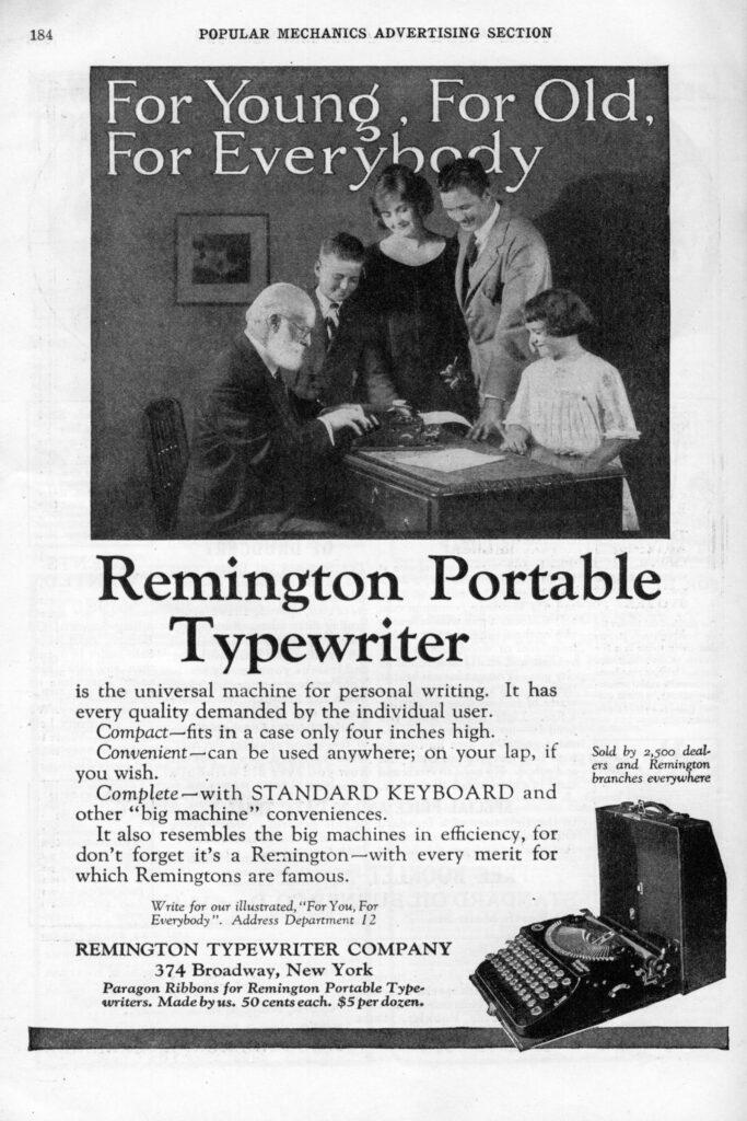 Remington advertisement to cross the generations, October 1923, Popular Mechanics