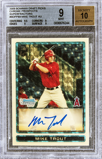 A 2009 Bowman Chrome Draft Prospects Mike Trout Superfractor signed rookie baseball card (#1 of 1) sold for $3.936 million at an Elite Auction held August 23 by Goldin Auctions, based in Runnemede, NJ