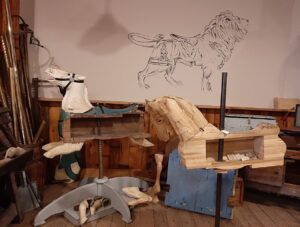 Our carving bay exhibit shows how carousel horses were constructed  in the early 1900s. Most people don't realize they are hollow and  are made up of thirty or more individual pieces of wood!