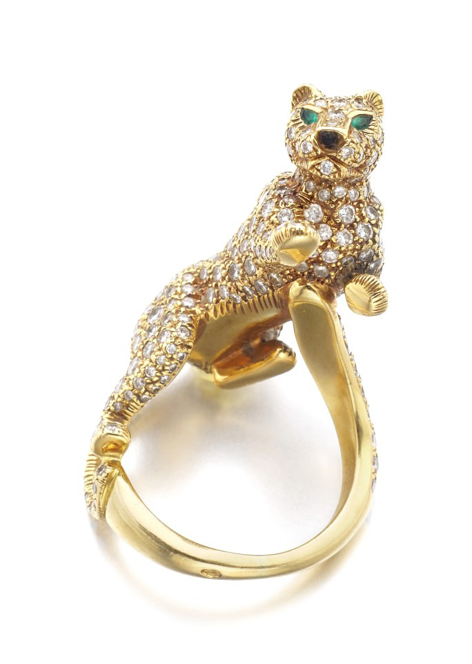 Diamond, Emerald, Onyx Panthére ring by Cartier
