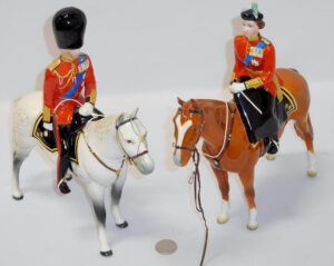 Beswick Figurine 1546 HM Queen Elizabeth II Mounted with Beswick Horses Rare Duke Of Edinburgh On Alamein Trooping the Color 1957