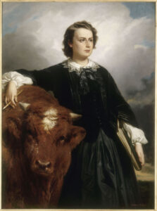 Portrait of Rosa Bonheur, 1857, by E. L. Dubufe which shows the artist, Miss Bonheur, with a bull, symbolic of her work as a painter of animals, or Animalière.