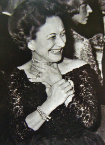 Wallis Simpson, the Duchess of Windsor, looking happy in her Cartier Panthére bracelet