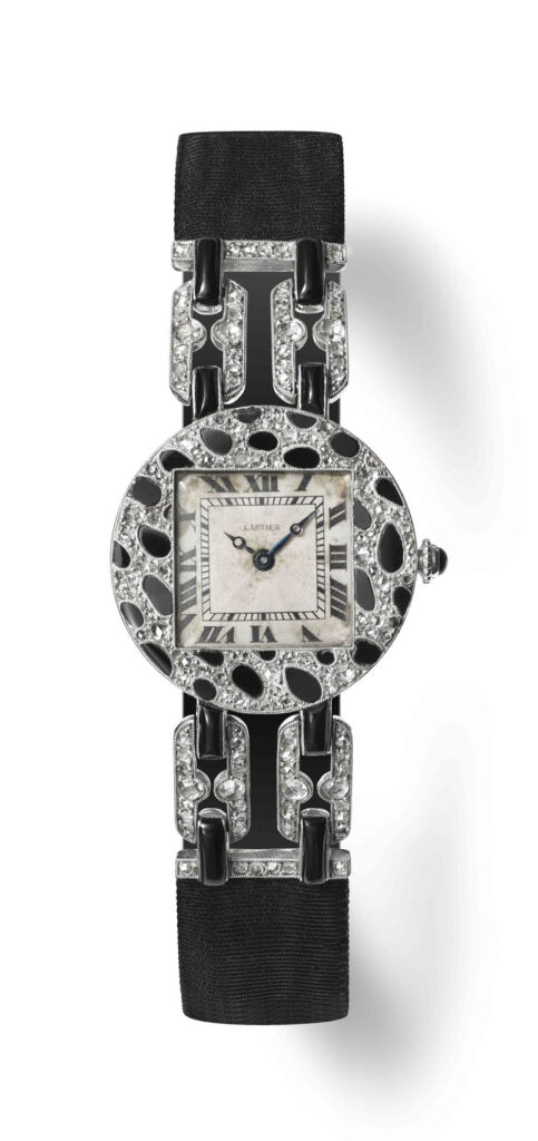 First appearance of the Panthére pattern, in onyx and diamonds, on a ladies' wristwatch, 1914