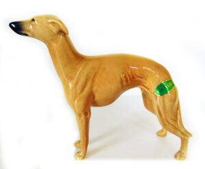 Extremely rare Beswick England Greyhound/ Whippet vintage dog figurine. Modeled after Champion Winged Foot Marksman Of Allways (Model 1786A), Designed by Arthur Gredington, issued in 1961