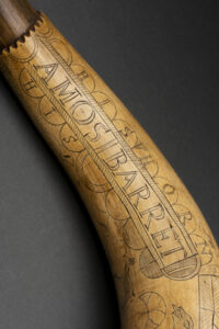 Powder Horn of Amos Barrett, circa 1774. 1994.63 Concord Museum Collection, Gift of Frederick S. Richardson, Peter H. Richardson, and Joan R. Fay (1994).