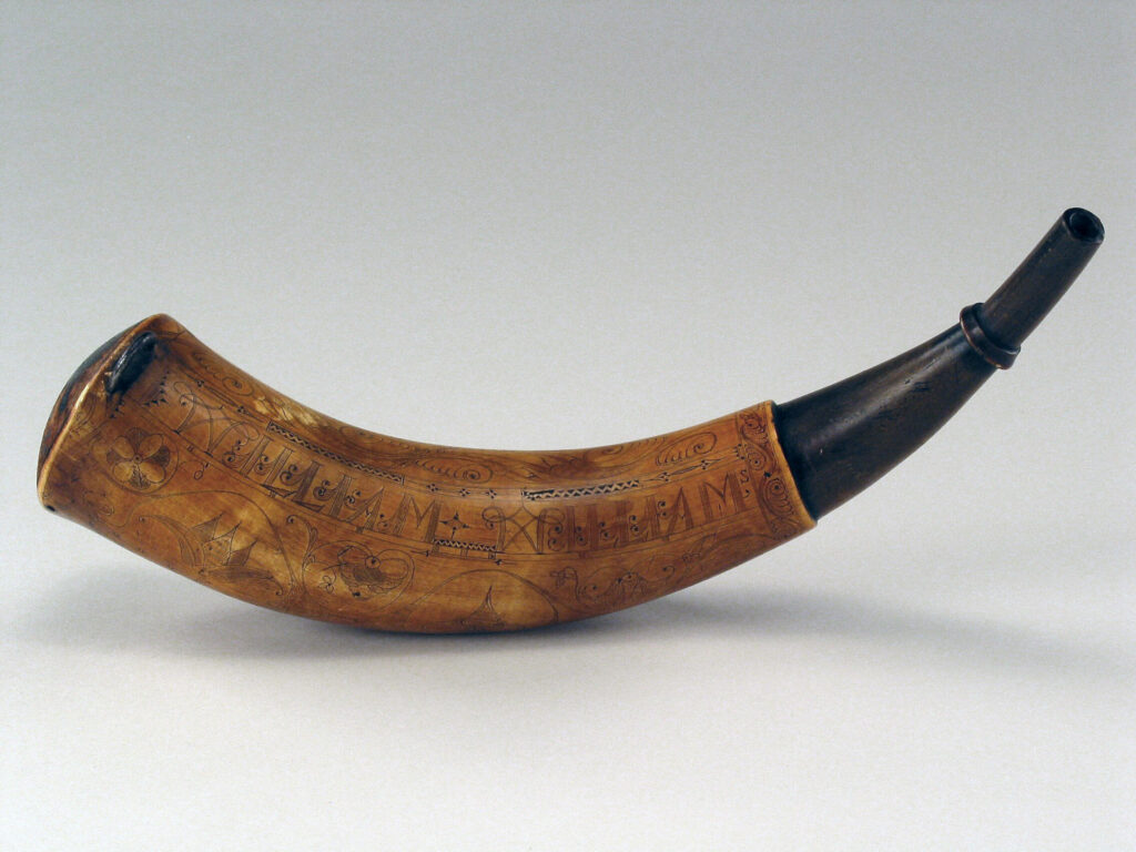 William Williams Jr. Powder Horn attributed to the carver John Bush. Historic Deerfield, 2005.20.6