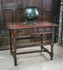 17th century bobbin turned side table, with H-stretcher and moulded drawer front