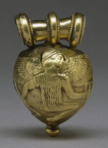 Etruscan bulla depicting Icarus. Roman bullae were enigmatic objects of lead, sometimes covered in gold foil, if the family could afford it. A bulla was worn around the neck as a locket to protect against evil spirits and forces. Bullae were made of differing substances depending upon the wealth of the family.