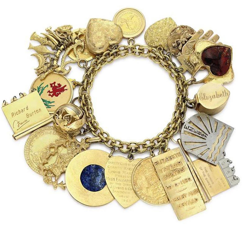 This gold charm bracelet of Elizabeth Taylor's charts the milestones of her extraordinary life and sold at Christie's for $326,500 in 2011