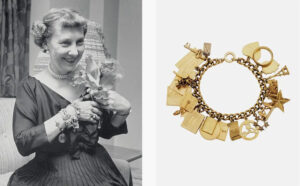 Mamie Eisenhower's  14k gold curb link bracelet suspending twenty-one charms of various motifs and engravings, measuring  7 1/4 inches, sold for  $20,000 against a high estimate of $6,000 at Christie's in 2017.
