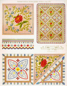 Antimacassar needlework patterns, England, 1879