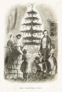 Prince Albert, the German husband of Queen Victoria, brought the Christmas tree tradition to England. An 1848 Illustrated News holiday portrait of the Royal Family, complete with a decorated tree gave the custom widespread attention; by 1850, its popularity had spread to America