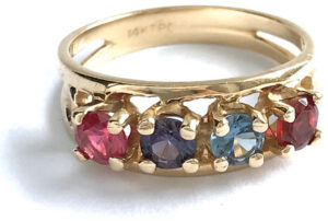 "Vintage 1970s ""Mother's Ring"" featuring the  birthstones of her four children"