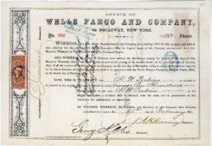Wells Fargo stock certificate, $2,875, Holabird Western Americana