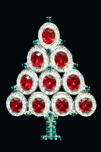 Hobé silver tree with red stones, $50-75