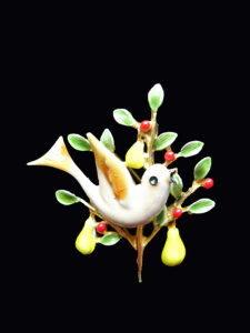 Holiday tree of a different type: pear tree pin with (what else?) a partridge! Art, $20-30