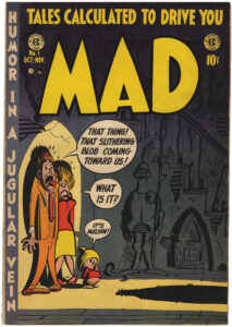 The Harvey Kurtzman-illustrated cover of the  1952 first issue of MAD, then a 10¢ comic book.