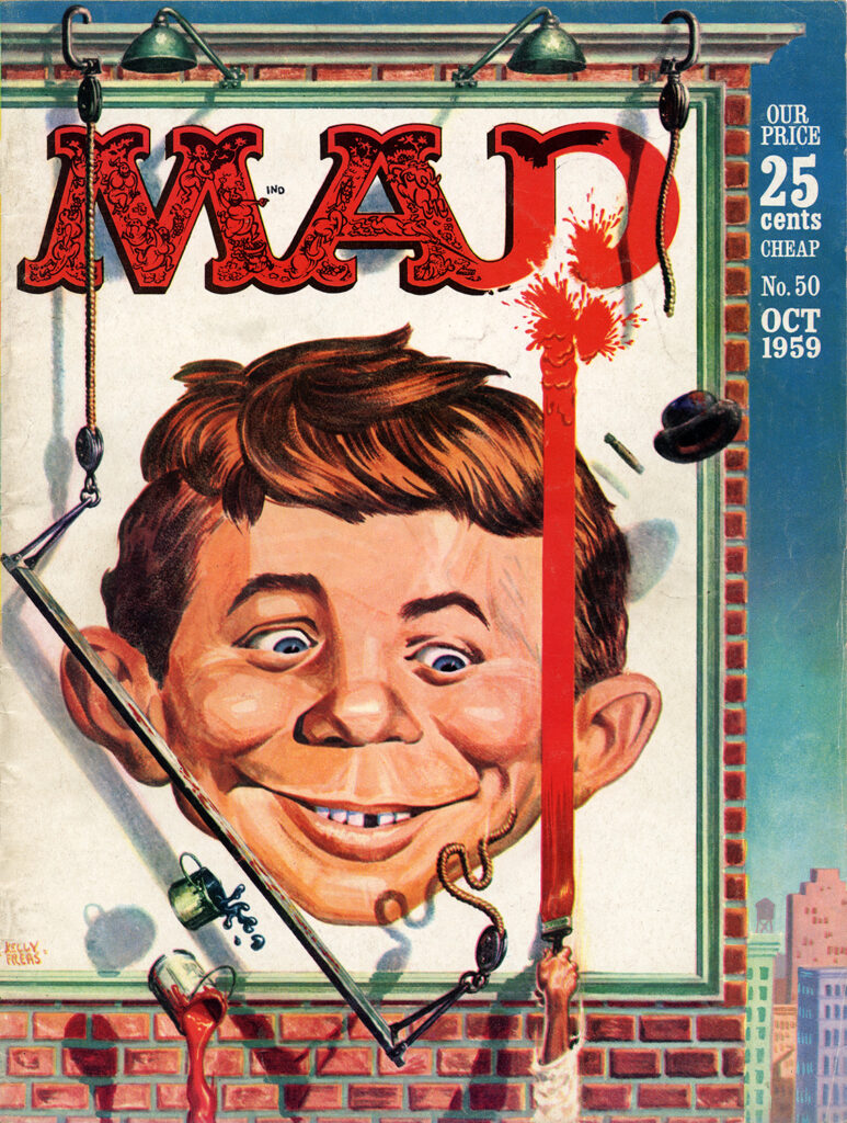 The cover to MAD No. 50 (October 1959), illustrated by Kelly Freas. While Mingo could produce endless identical versions of the Alfred E. Neuman face, Freas's Alfreds were more impish and had much more expression.