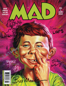 The cover of the new MAD No. 1 (illustrated by Jason Edmiston, June 2018), signed  by many of the contributors.