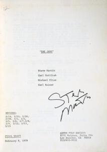Lot 671: Steve Martin's signed script from The Jerk