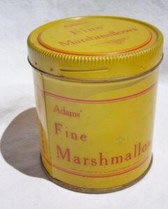 """1920s Adam's Fine Marshmallows tin aka """"snake in a can"""""""