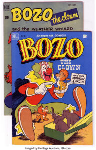 """These two issues of BOZO the Clown (#1 and #2) comics sold for just $77.68 in 2006. At the results page for these comics at ha.com, there is a note that the owner is entertaining offers of $250+ to purchase the pair for a more contemporary value. Yes, BOZO's hair was green on the """"Minikin Circus"""" cover."""