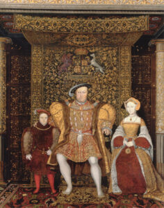 A painting of The Family of Henry VIII with (l-r) Prince Edward, Henry VIII, and Jane Seymour, all posed beneath one of the king's many tapestries, ca. 1545.