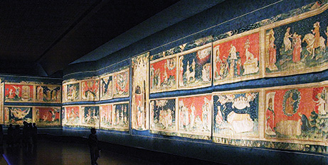 The Apocalypse Tapestry in Angers, France, 6 x 140 meters Photo by Gribeco, CC BY-SA 3.0.