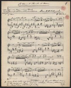 Beach's hand written music for A Hermit Thrush at Morning, 1921