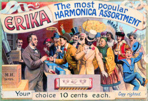 A poster advertising Hohner's Erika harmonica line from the early 20th century