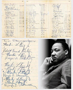 Four jailhouse logbook pages bearing 12 signatures of Rev. Martin Luther King, Jr. and five signatures of his associate Ralph Abernathy, signed during their 1963 incarceration at the Birmingham (AL) jail, sold for $130,909 at Premier Auction #231 held Feb. 24-25 by Hake's Auctions in York, PA.