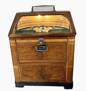 A fully functioning 1937 Rock-Ola 1937 World Series Baseball arcade game sold for $34,375 at an auction held March 21st by Fine Estate, Inc. in San Rafael, CA.