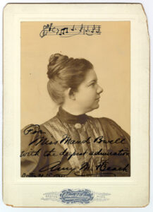 Signed photograph from Beach to her dear friend Violinist Maud Powell.
