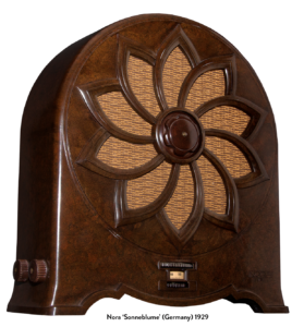"The first bakelite table-top radio in the world made in Germany by the Nora Radio Company and called ""Sonnenblume"" (Sunflower), 1929"