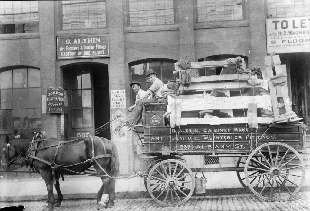 Olof Althin storefront with wagon, Boston, 1906 photo: Winterthur Library