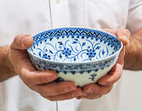 """A Ming dynasty, Yongle period exceptional and rare blue and white '""""floral"""" bowl originally purchased for $35 at a Connecticut yard sale achieved $721,800 following a spirited battle between four bidders in an Important Chinese Art Auction held March 17th by Sotheby's in New York City"""