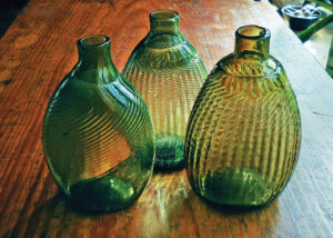 Note the double layer, half-post method used to create these pieces. The Museum of Connecticut Glass has some impressive examples of Pitkin-type glassware and actively promoted their area's interesting history with regular glass and bottle shows. Stay tuned for future events involving Pitkin forms and their place in American and Connecticut history.  photo: Quiet Corner Glass, M. Opel 2017, Museum of Connecticut Glass