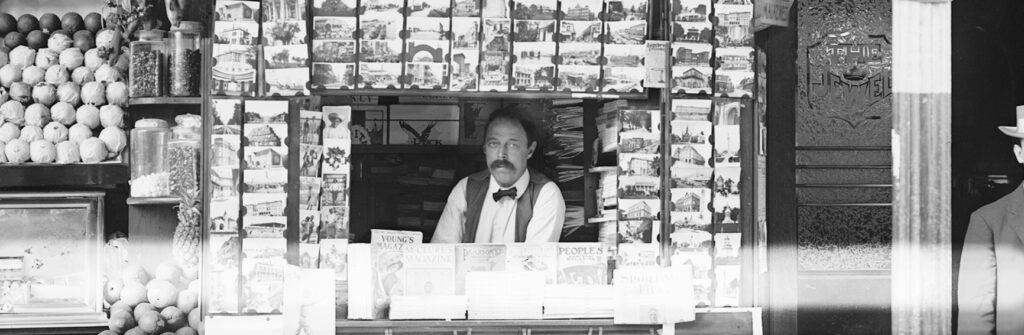 Above: Wallace News Stand in New Orleans in the summer of 1908