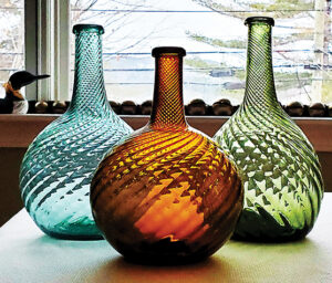 While Pitkin flasks are most common, you should also be on the lookout for Midwestern globular bottles that come in a variety of colors.  photo: Michael George