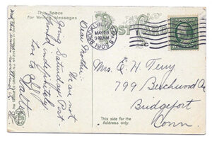 A 1909 Split- Back-Postcard with a somewhat cryptic message from a Son to his Mother