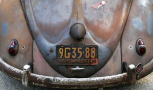 1956 New York license plate on the back of a vintage VW