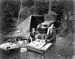 Automobile camping at Silver Lake, 1920