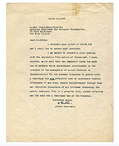 A typed signed letter by Albert Einstein, dated March 10, 1954, sold for $28,800 at a Fine Books and Manuscripts sale held March 13th by Potter & Potter Auctions in Chicago, IL