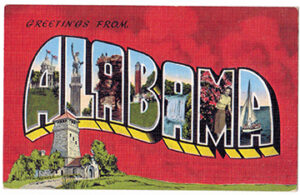 """""""Greetings from ALABAMA"""" is an example of a linen """"Big Letter"""" postcard"""