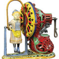 A J & E Stevens (American) Girl Skipping Rope cast-iron mechanical toy bank in pristine to near-mint condition sold for $156,000 at Part 1 of the sale of Aaron and Schroeder mechanical bank and toy collection held March 5-6 by Bertoia Auctions in Vineland, NJ