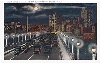 Night scene, Dallas and Oak Cliff Viaduct, Dallas, Texas