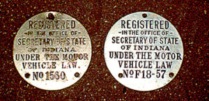 Indiana state government began licensing autos statewide in 1905. Motorists registering with the state received a dashboard disc with an all-numeric serial number.